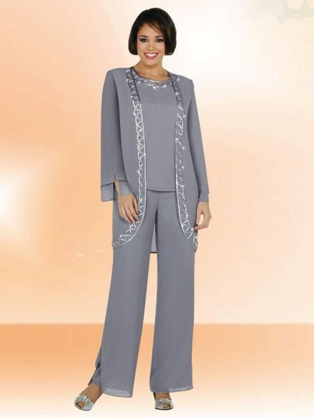 Plus Size Chiffon Mother Of The Bride Pants Suits Tunic Trousers Elegant Groom Lady Wedding