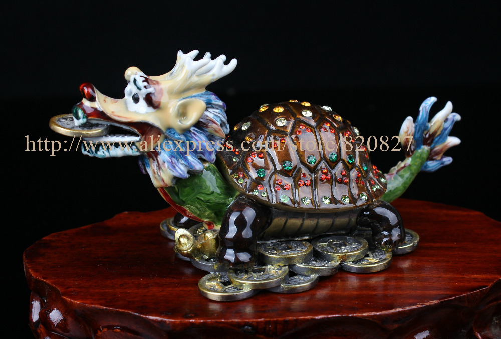 Treasure Casket in Turtle Shape FengShui Style Dragon Turtle Trinket Box Metal Statues Rhinestone Crystal Large Dragon Turtle носки низкие toy machine turtle ankle page 1 href