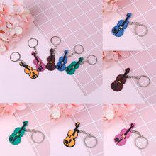 Music Keychain Key Ring Chain Creative Violin Guitar Musical instrument keychains violin keyring pendant(China)