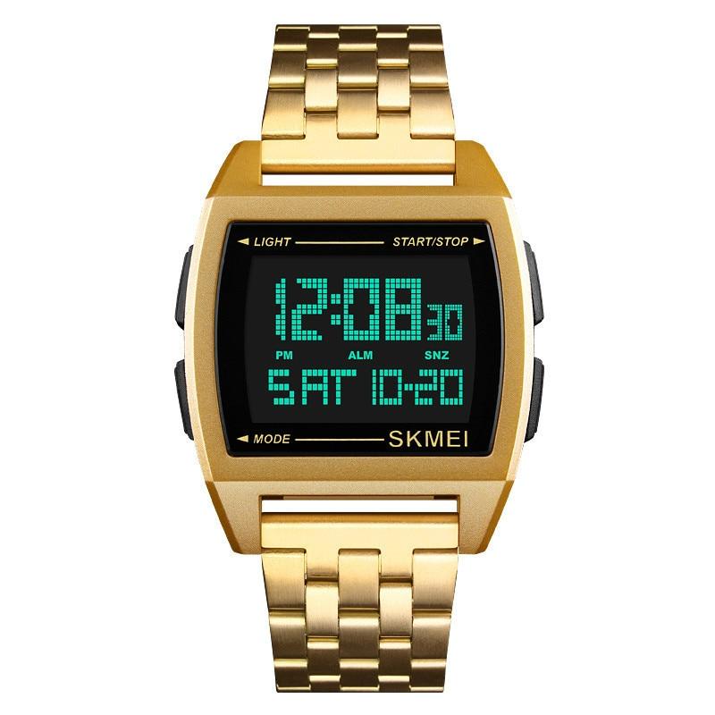 лучшая цена Men Watch Digital Stainless Steel Strap Sports Fashion Wristwatch Double Display Countdown Men Watchs Relogio Masculino
