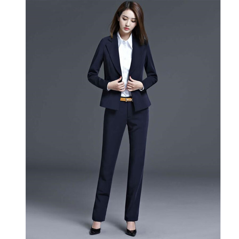 Autumn and winter woman suit two-piece jacket+pants black suits ol suit interview work clothes formal occasion woman suit