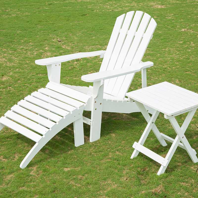 Adirondack Outdoor Wood Chair with Ottoman Side Table Patio Deck Porch Garden Lawn Yard Lounger Beach Furniture Set White Finish outdoor patio adirondack wood bench chair rocking chair contemporary solid wood log deck garden furniture single rocker chair