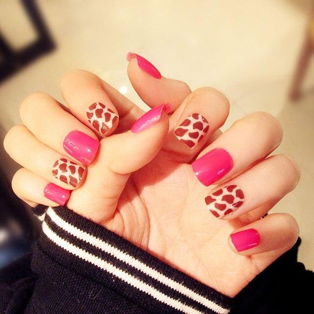 24pcs Nails Kit Short Square Fake Nails Leopard Spot Design Nail Art False  Nail Tips Pointed Full Wrap Press On Nails Rose Red-in False Nails from