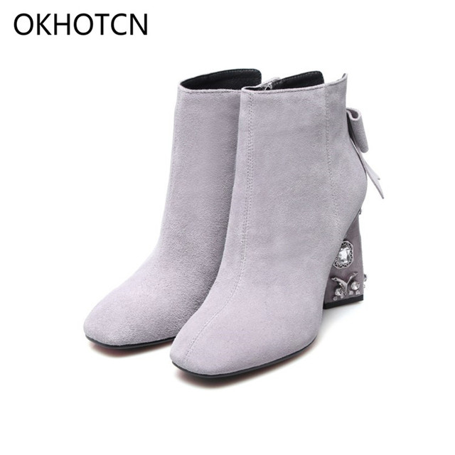 2c905fbc2d76 OKHOTCN Winter Shoes Cow Suede Square Toe Bowtie Thick Diamond High Heel  Women Ankle Boots Pearl Runway Bow-knot Chelsea Boot