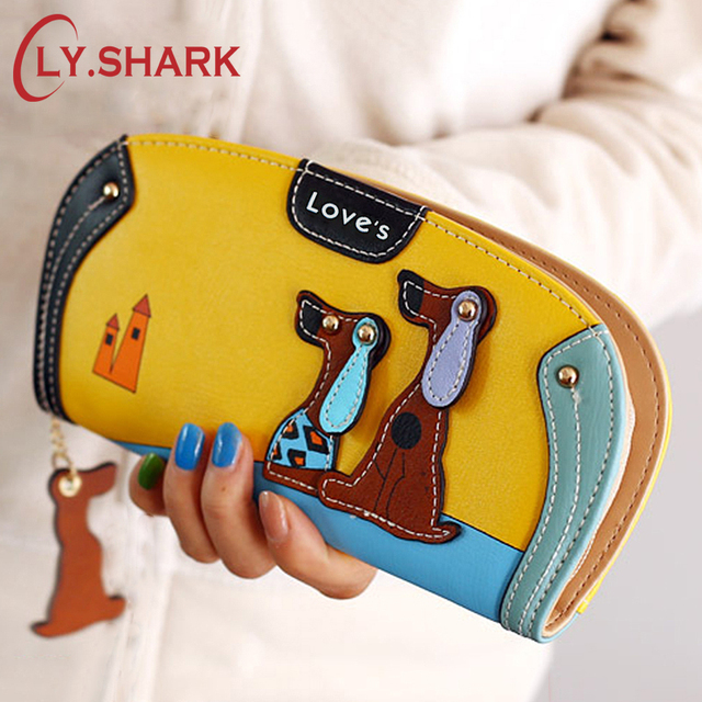 LY.SHARK Cartoon dog women purse bag designer wallets famous brand women wallet long money clip dollar price zipper coin pockets