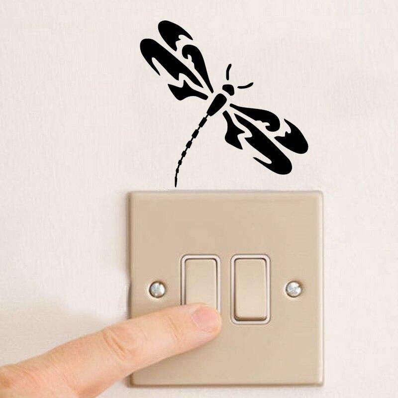 Fashion Dragonfly Creative Switch Sticker Animal Totem Vinyl  Styling Wall Sticker 2WS0163