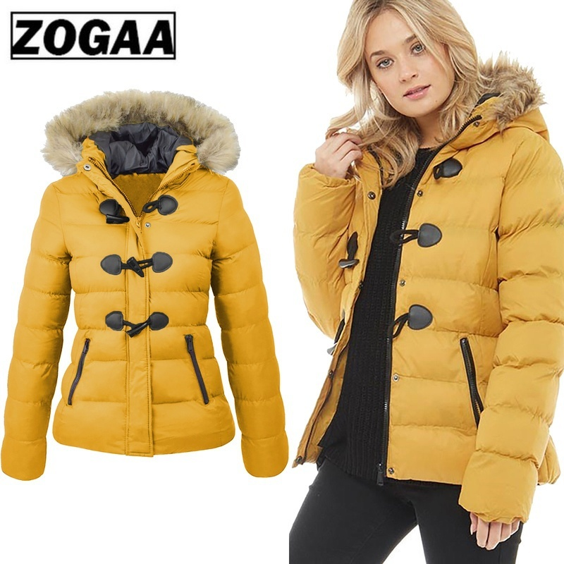 ZOGAA Women   Parka   2019 Winter Spring Coat Women Casual Fur Collar Horn Buckle Slim Oversize Female Jacket Overcoat Warm   Parkas