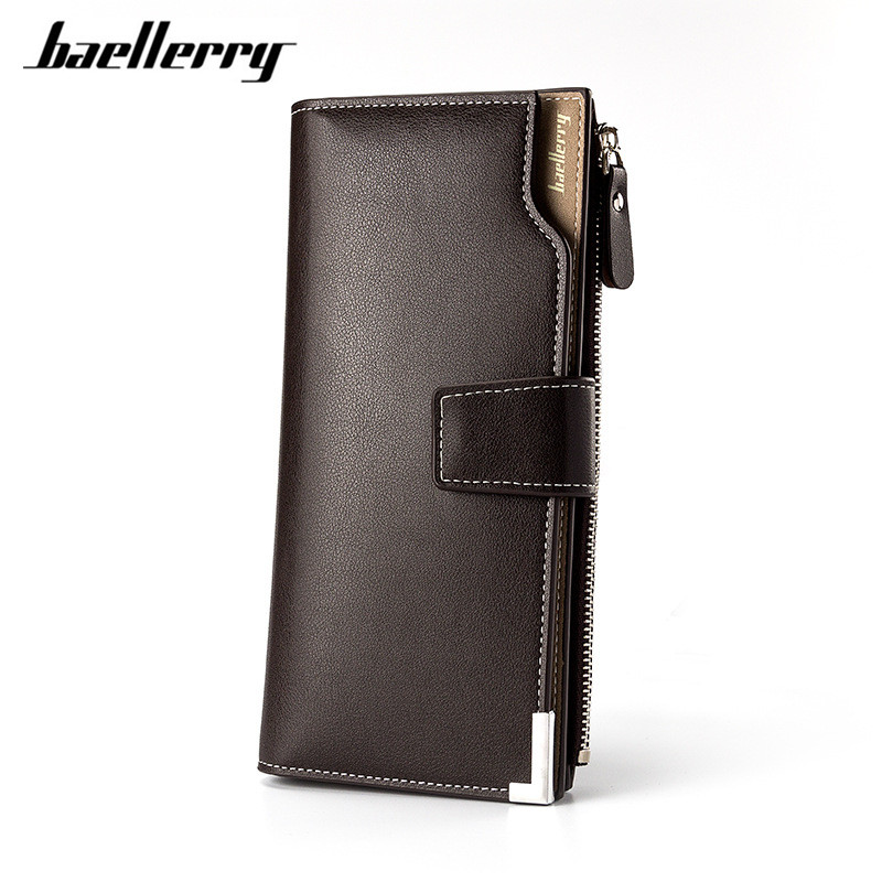 Baellerry Brand High Quality leather long wallet men purse male clutch zipper wallets money bag With Roomy pocket multifunction