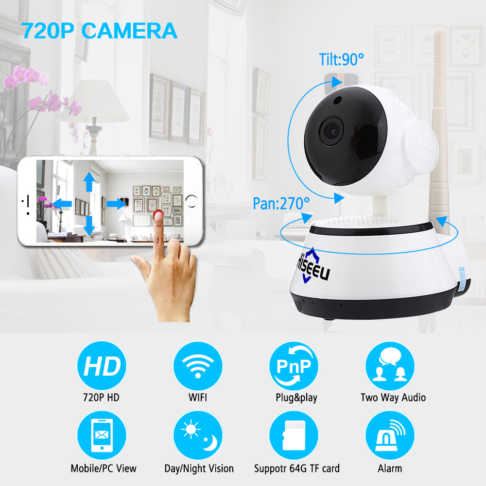 Hiseeu HD IP Camera Wireless Video Surveillance Camera Indoor Mini WiFi Camera CCTV Camera WI-FI Home Security Baby Monitor FH2A 720p hd hi3518c ov9712 indoor mini security video ip camera with free cms software for home baby security