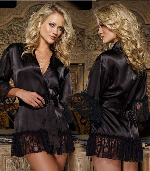 Sexy Lingerie Bath Robe Woman Well Nightclothes Female Fantasias Sensuais Nuisette Erotic Nightwear Sleepwear Lady CA515