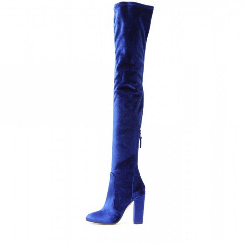 c7875ff5154 fsj shoes women s royal bule long boots chunky heels thigh-high boots  royal blue thigh high block heel velvet boots  royal blue thigh high velvet boots ...