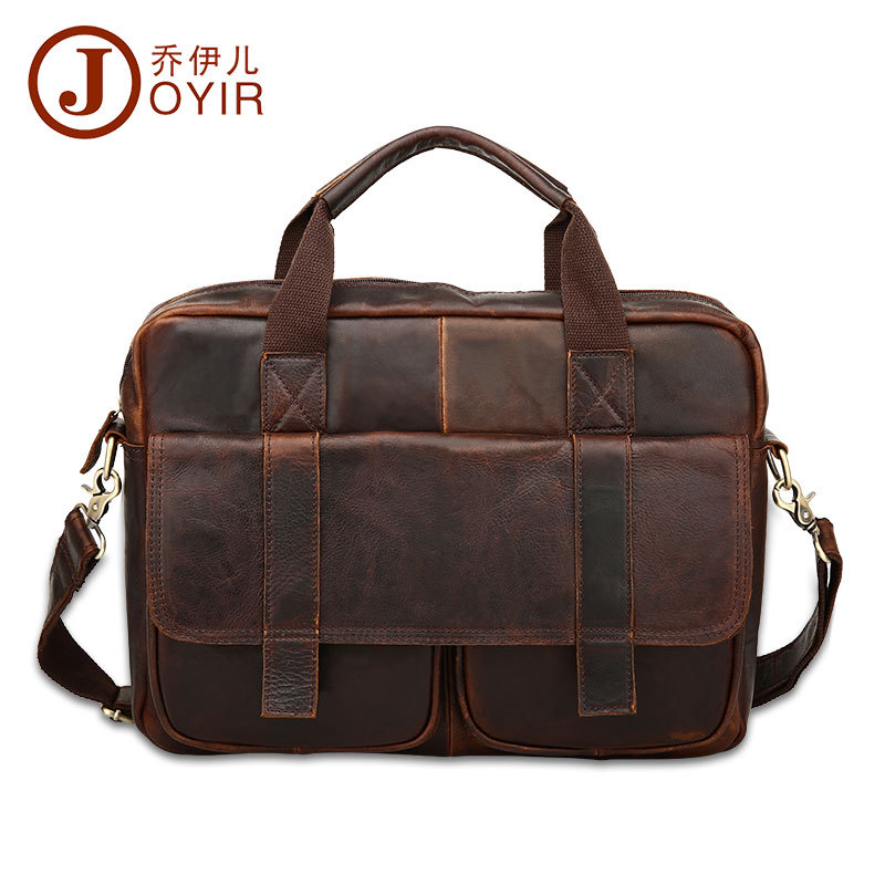 Joyir briefcase for male genuine leather fashion crazy horse leather brief case softness messenger bag men leather laptop bag joyir men briefcase real leather handbag crazy horse genuine leather male business retro messenger shoulder bag for men mandbag