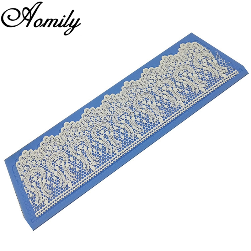 Aomily Silicone Lace Flower Wedding Cake Beautiful Flower Lace Fondant Mold Mousse Sugar Craft Icing Mat Pad Pastry Baking Tool