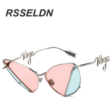 RSSELDN 2016 New Cat's eye sunglasses Women's latest design rivet color Patchwork glasses Personality Lens leg UV400 WY025