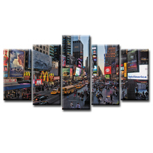 5 Pieces Print Wall Art Prosperous street view Canvas Painting for Living Room Decor Framed  /Abstract-5 (6)