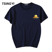 Tsingyi Summer Print Luffy Yellow Straw Hat One Piece T Shirt Men 100% Cotton O-Neck Short Sleeve Hip Tee Shirt Homme Plus Size