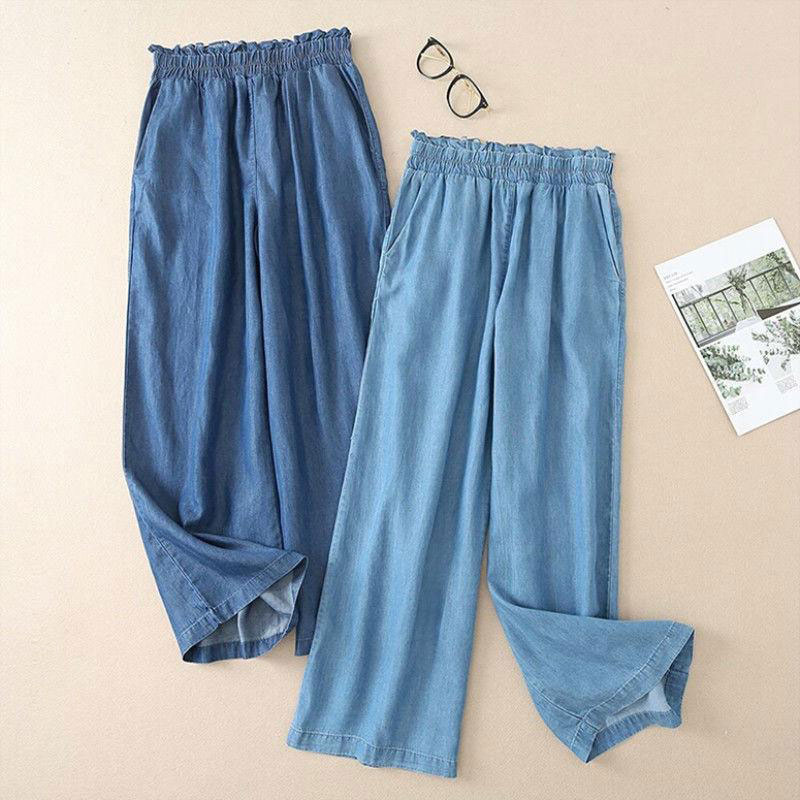 F&je Spring Summer Fashion Women Jeans High Waist Loose Thin Wide Leg Jeans Cotton Denim Casual Ankle-length Pants Plus Size D53
