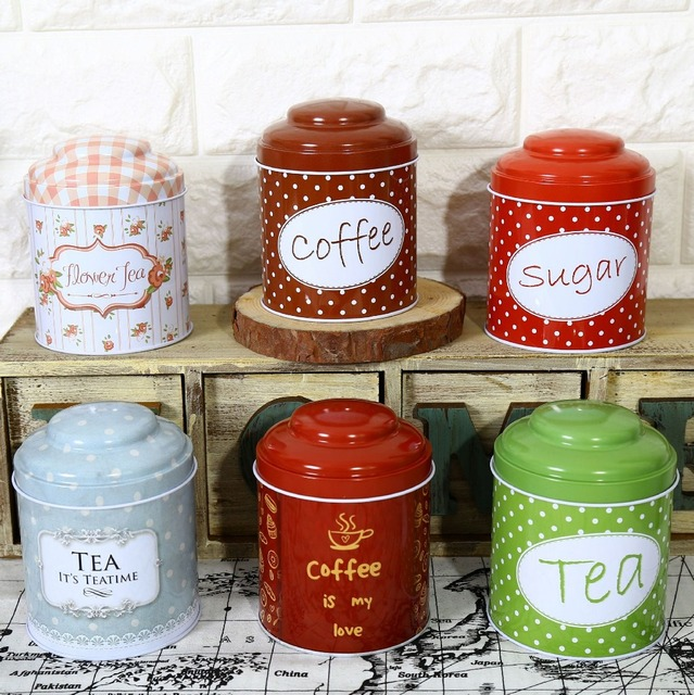 Free Shipping 6pcs Lot Tea Canister Iron Caddy Metal Coffee Storage Case Sugar