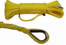 Yellow 5mm*15m ATV Winch Line, Synthetic Winch Cable,Boat Winch Rope,Spectra Rope