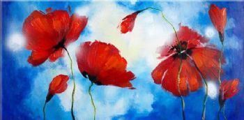 Hand Painted Oil Painting Poppies Against The Sky-Floral Oil Painting Wall Art-Modern Oil Painting On Canvas Art Wall Decor