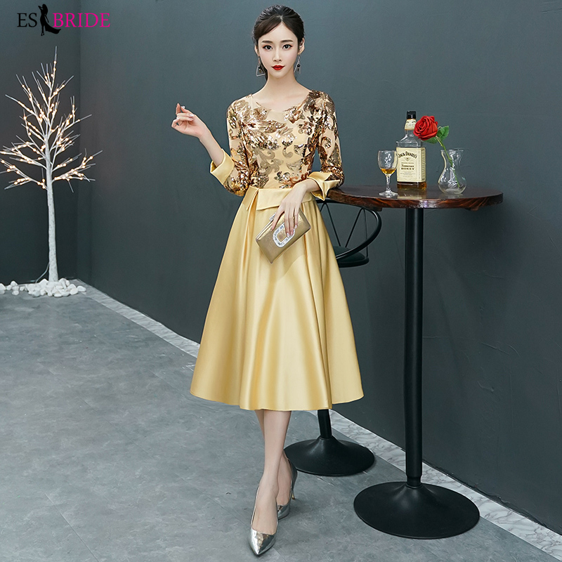 Evening Dress 2019 New Gold Party Style Mid-length Dress Evening Dresses Long Formal Dress Women Elegant Special Occasion ES2383