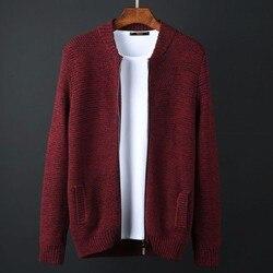 Топ Большие размеры Осень бренд мужской одежды 100% хлопок свободный свитер мужской кардиган стоять воротник мужчин свитер мужской M-6XL