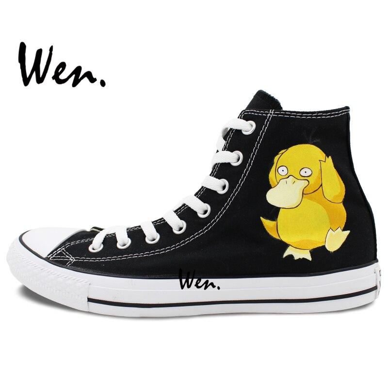 US $52.0 20% OFF|Wen Männer frauen Anime Handgemalte Schuhe Design Custom Pokemon Tasche Monster Psyduck Männer frauen High Top Schwarz leinwand