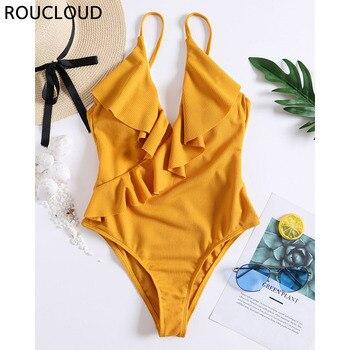 en venta 140c7 d11b6 Traje de baño amarillo sólido de una pieza traje de baño con volantes para  mujer cuello en V Monokini traje de baño ropa de playa Sexy vendaje traje  ...