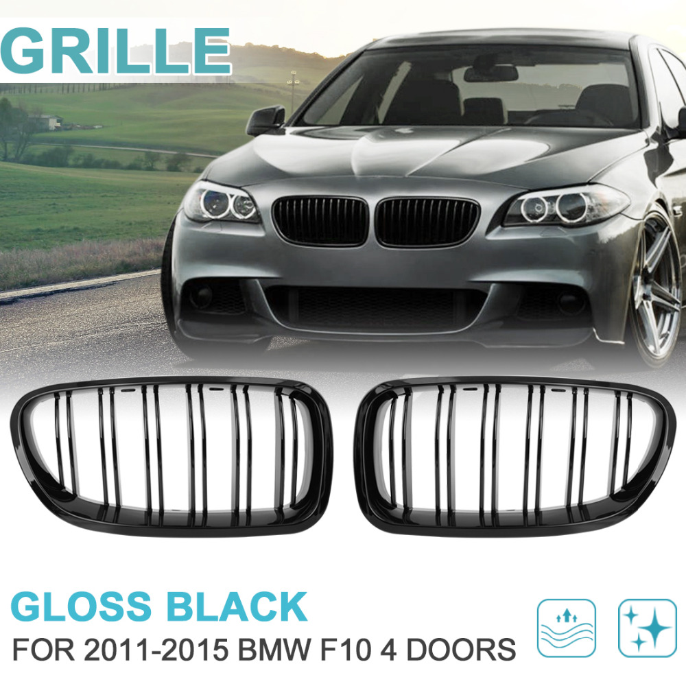 UXCELL 2PCS Gloss Black Front Hood Kidney Grille Grill For