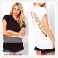 2016 charme Design puro algodão t-shirt com Hallow moda S-XXL Sexy anjo asas de mangas