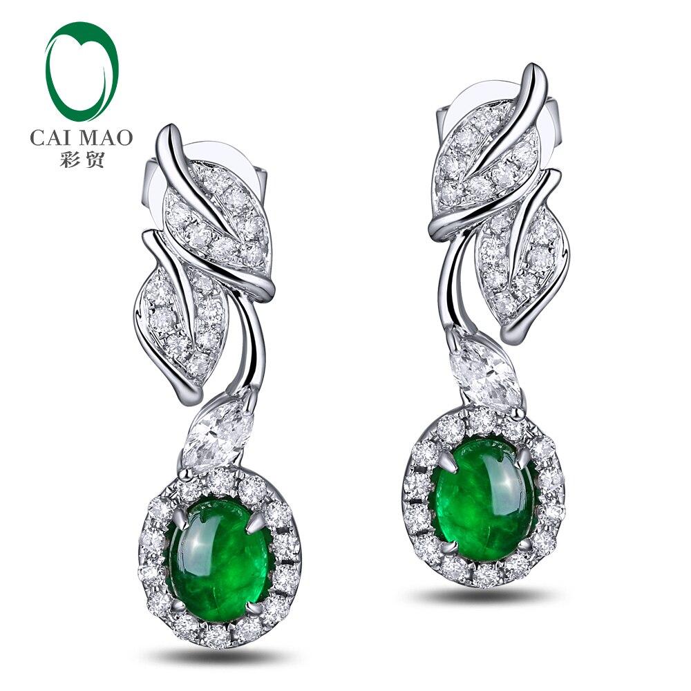 CaiMao 0.83ct Natural Emerald 18KT/750 White Gold 0.45ct Round Cut Diamond Earrings Jewelry Gemstone caimao exquisite jewelry natural cabochon cut emerald baguette cut diamond 14kt white gold drop earrings