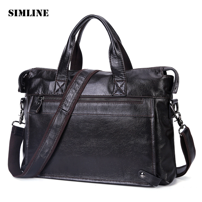 SIMLINE Genuine Leather Handbag Men Business Vintage Cowhide Male Shoulder Messenger Laptop Bag Bags Handbags Briefcase For Man цена