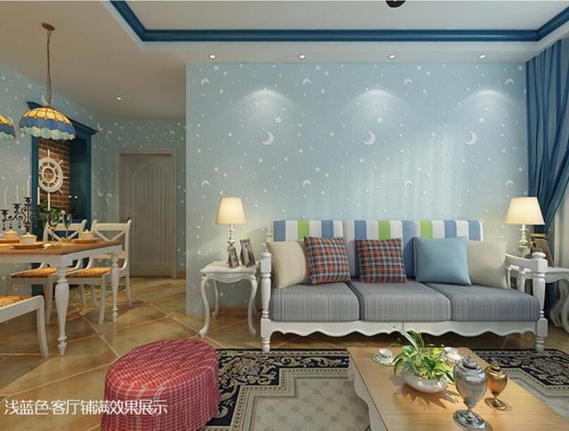 US $29.21 33% OFF|Beibehang wallpaper 3D blue star moon light wallpaper  children ceiling decoration fluorescent children bedroom 3d wallpaper  roll-in ...