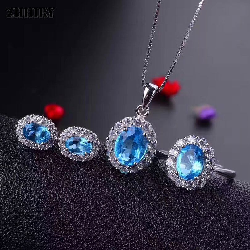 ZHHIRY Real Natural Blue Topaz Jewelry 925 Sterling Silver Sets Ring Necklace Pendant Earrings For Women Gemstone Fine Jewelry