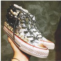 Thai street fashion old retro high canvas shoes women's flat round head Korean casual skateboarding sport wild women's shoes
