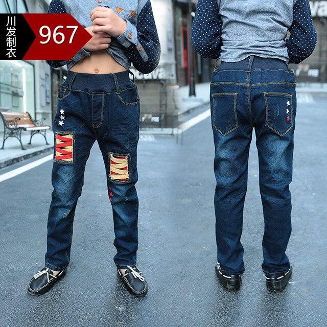 Winter 2016 Children Pants For Boys Fashion New Brand Style Elastic Waist Thick Velvet Warm Kids Straight Trousers Boy Jeans Hot