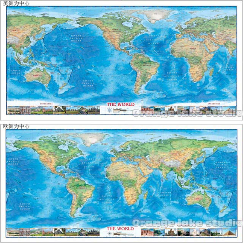 Grand monde HD voyage Attraction carte salles de classe décoration de la maison détaillée Antique affiche murale tableau coton tissu toile peinture