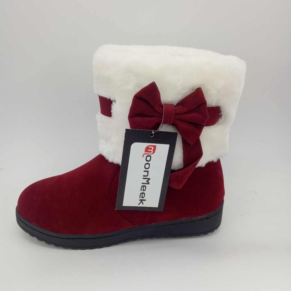 MoonMeek kış yeni gelmesi kadın botları yuvarlak ayak düz akın ilmek kar botları siyah şarap kırmızı kayısı yarım çizmeler