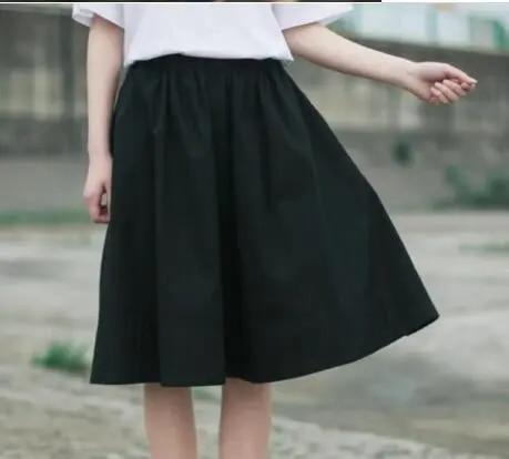 2019 Autumn Summer Women Skirt Cotton Linen Casual Skirt High Waist Pleated Skirt Female Elastic Waist Mid Long Skirts Women