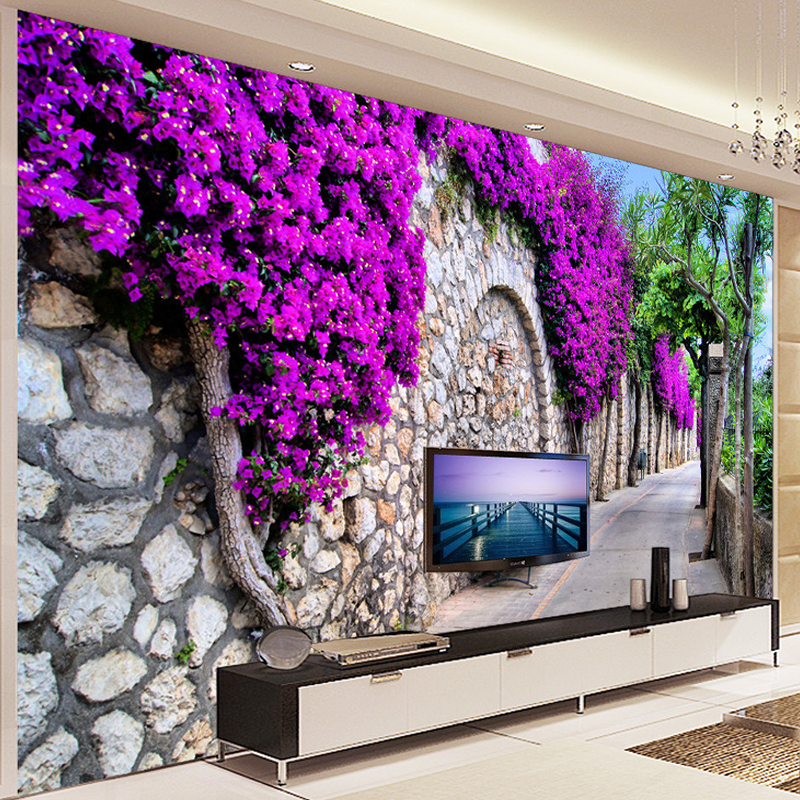 Photo Wallpaper 3D Stereo Purple Flowers Brick Wall Small Street Mural Living Room Cafe Dining