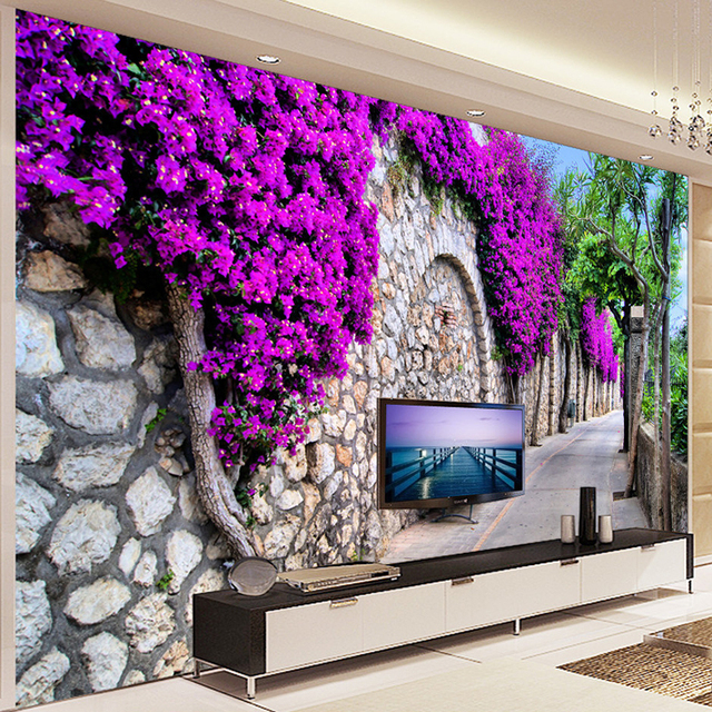 Photo wallpaper 3d stereo purple flowers brick wall small for 3d dining room wall art