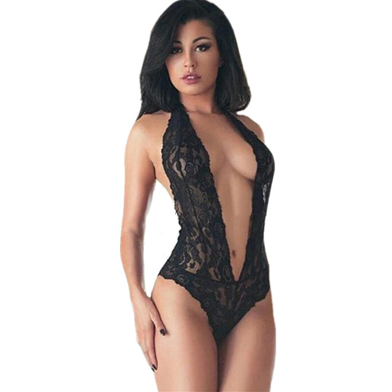 c2b78fba Babydoll Sexy Teddy Lingerie Halter Black Lace Women's Underwear ...
