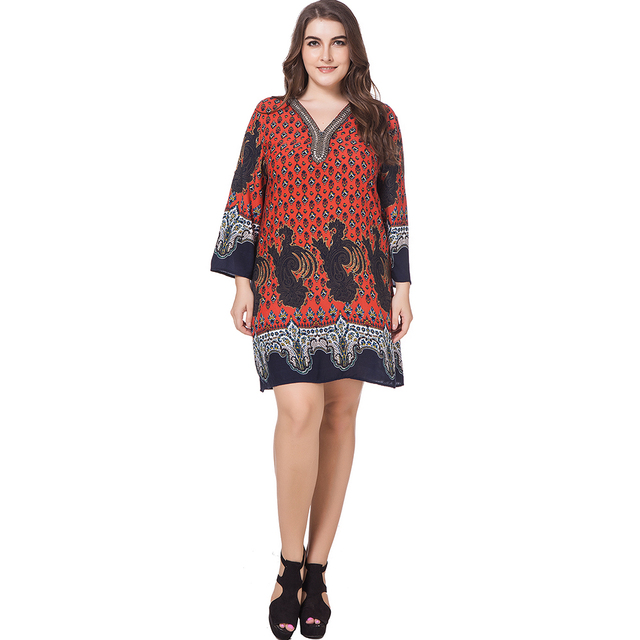 73c438796ee short plus size dress women 2018 Spring summer red mini casual Dress Floral  print V neck elegant hot sale 3XL 4XL sexy dress-in Dresses from Women s ...