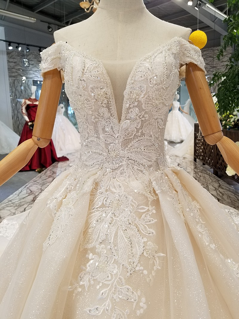 f90db8bd83ec5 LS74232 vestido de noiva ivory and champagne off shoulder sweetheart ball  gown lace up wedding dresses from china real photosUSD 602.59-702.87 piece