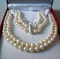 Free ShippingRare 2 Rows 8 9 MM AKOYA SALTWATER PEARL NECKLACE 18