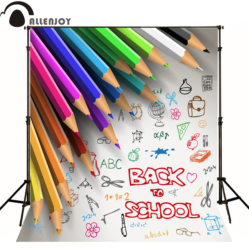 Allenjoy photographic background Colored pencils ruler school scissors kids vinyl princess photo studio photography backdrops