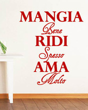Italian Decorative Wall Decals Mangia bene, ridi spesso, ama molto Eat well, laugh often, love much Wall Art Sticker(China)