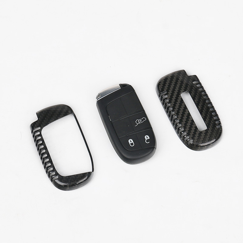 JHO Car Remote Control Key Cover Shell Carbon Fiber Key Case For Jeep Grand Cherokee 2014 2015 2016 2017 Car Styling Accessories