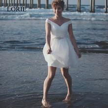 Amazing Short Beach Wedding Dress Off The Shoulder 2017 Robe De Mariage Chiffon Bridal Dress Fast Shipping