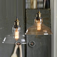 Nordic Pendant Lights Vintage E27 Glass Lampshade Loft Kitchen Pendant Lighting Retro Edison Hanging Lamp